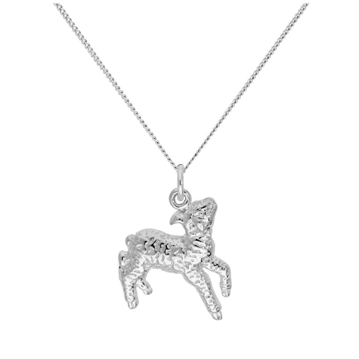 Sterling Silver Lamb Pendant on 16+2 Inches Diamond Cut Chain