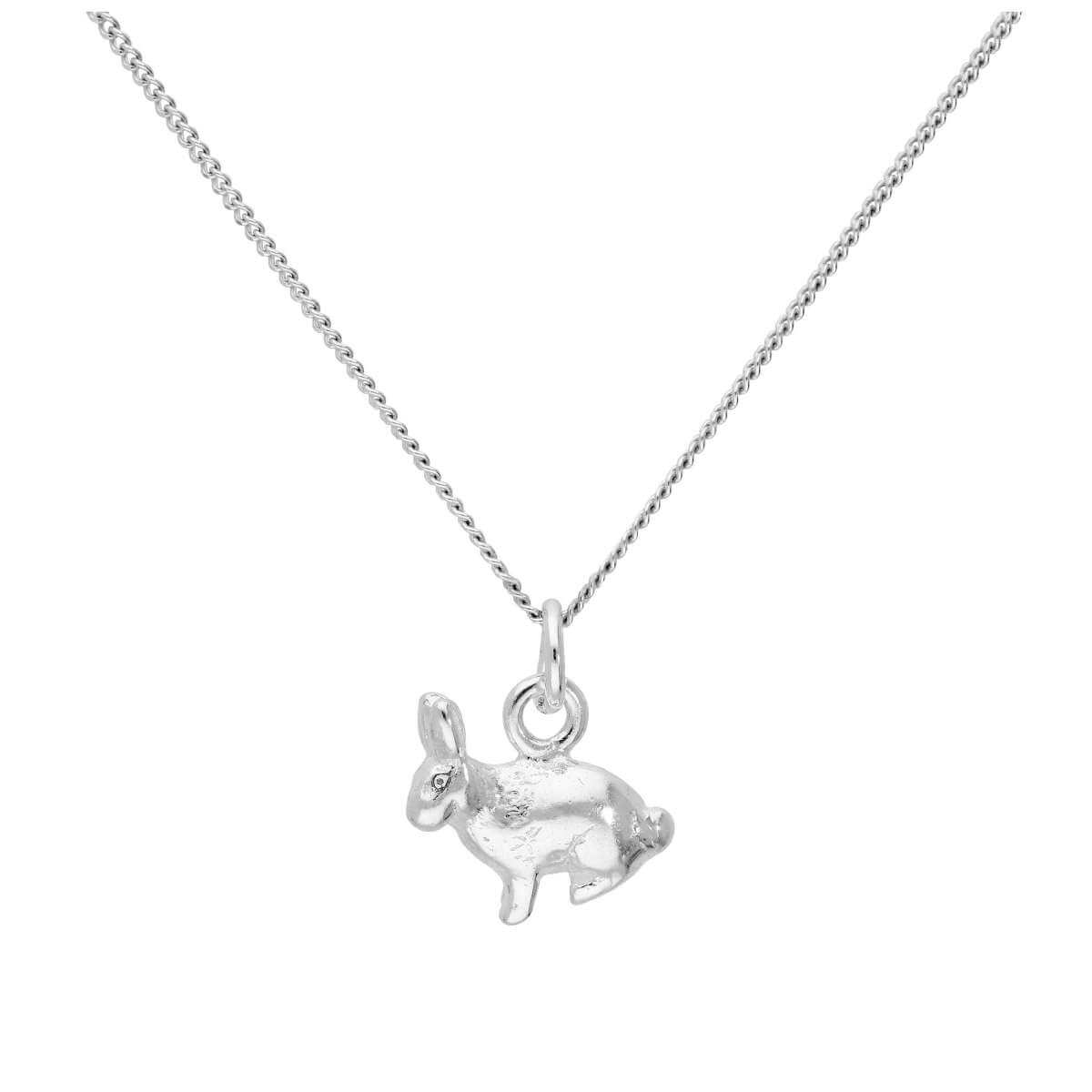 Sterling Silver Bunny Rabbit Necklace on 16+2 Inch Chain