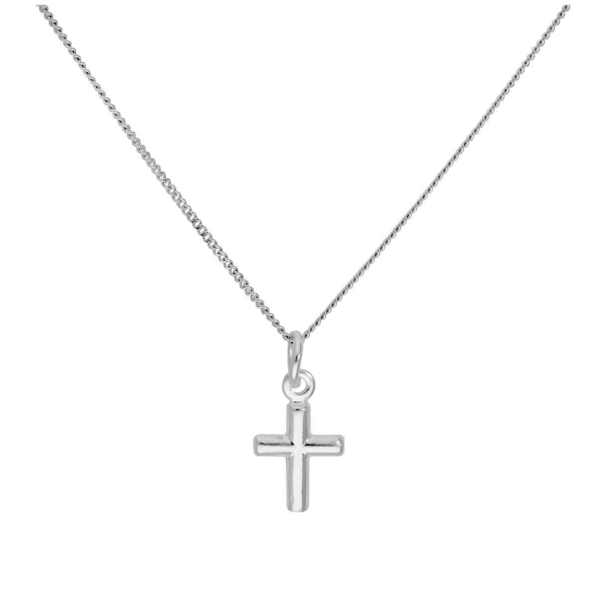 Sterling Silver Tiny Cross Pendant on 16+2 Inches Diamond Cut Chain