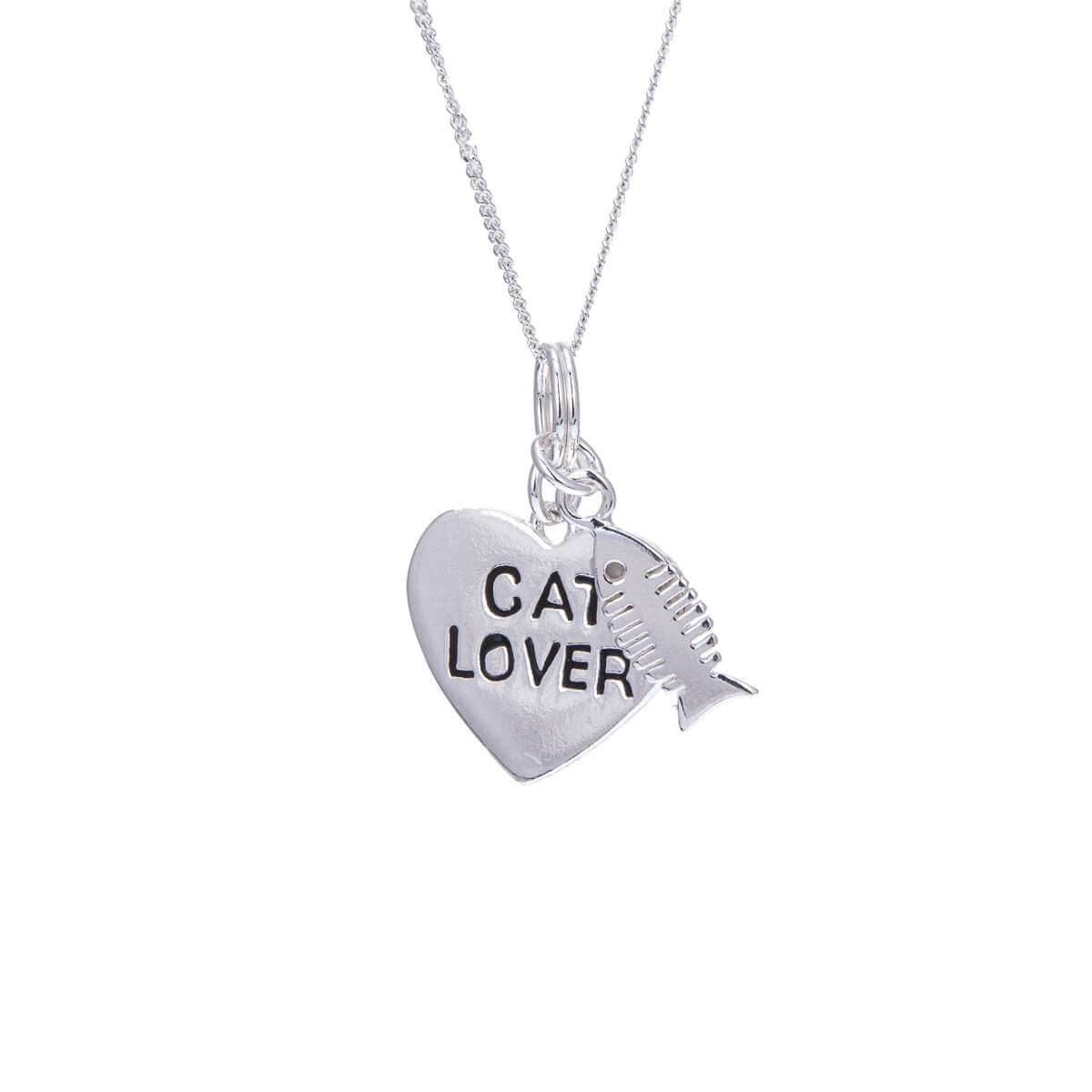 Sterling Silver Cat Lover Heart & Fish Bone Necklace