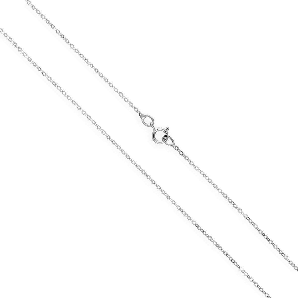 9ct White Gold Hammered Trace Chain 16 - 24 Inches