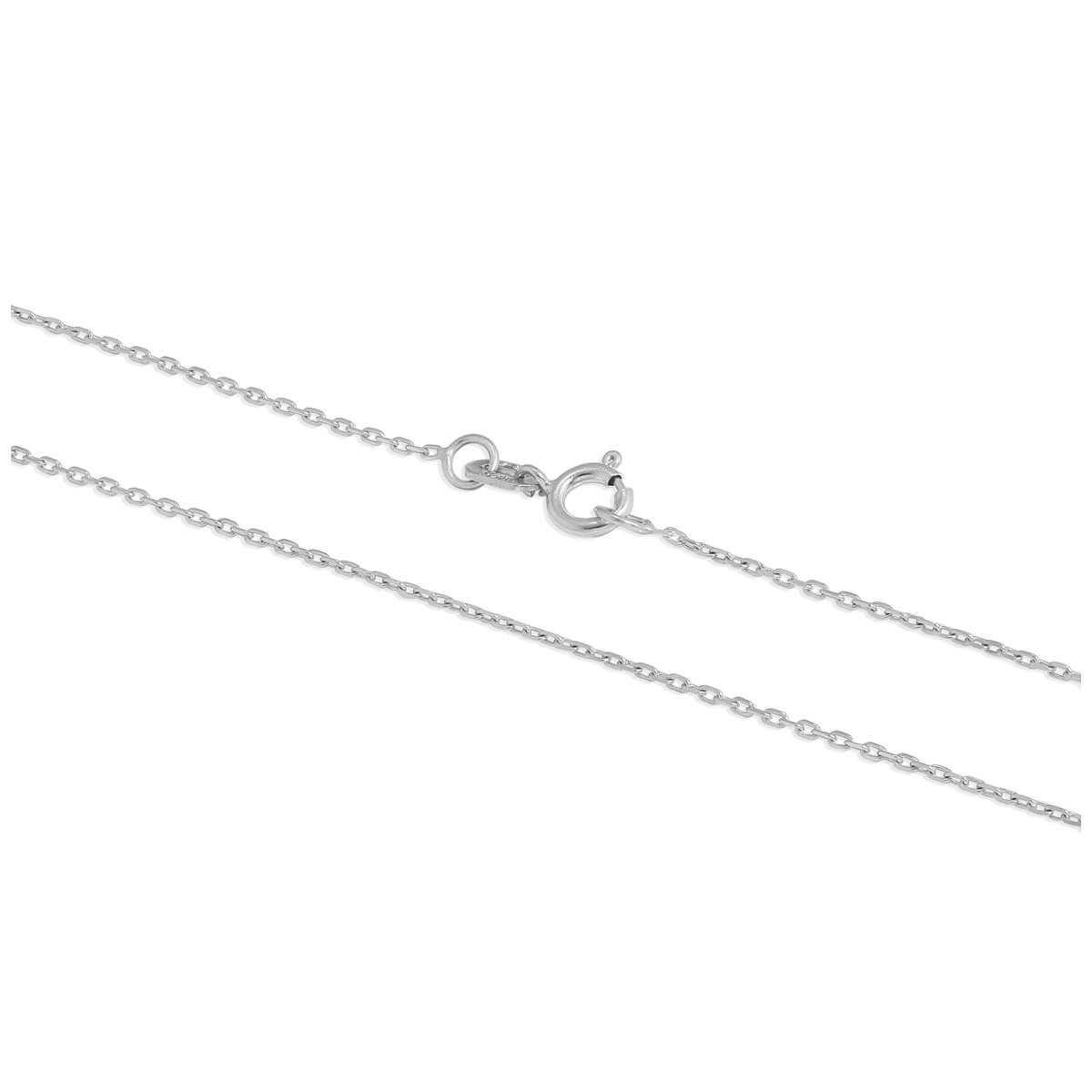 9ct White Gold Faceted Trace Chain 16 - 22 Inches