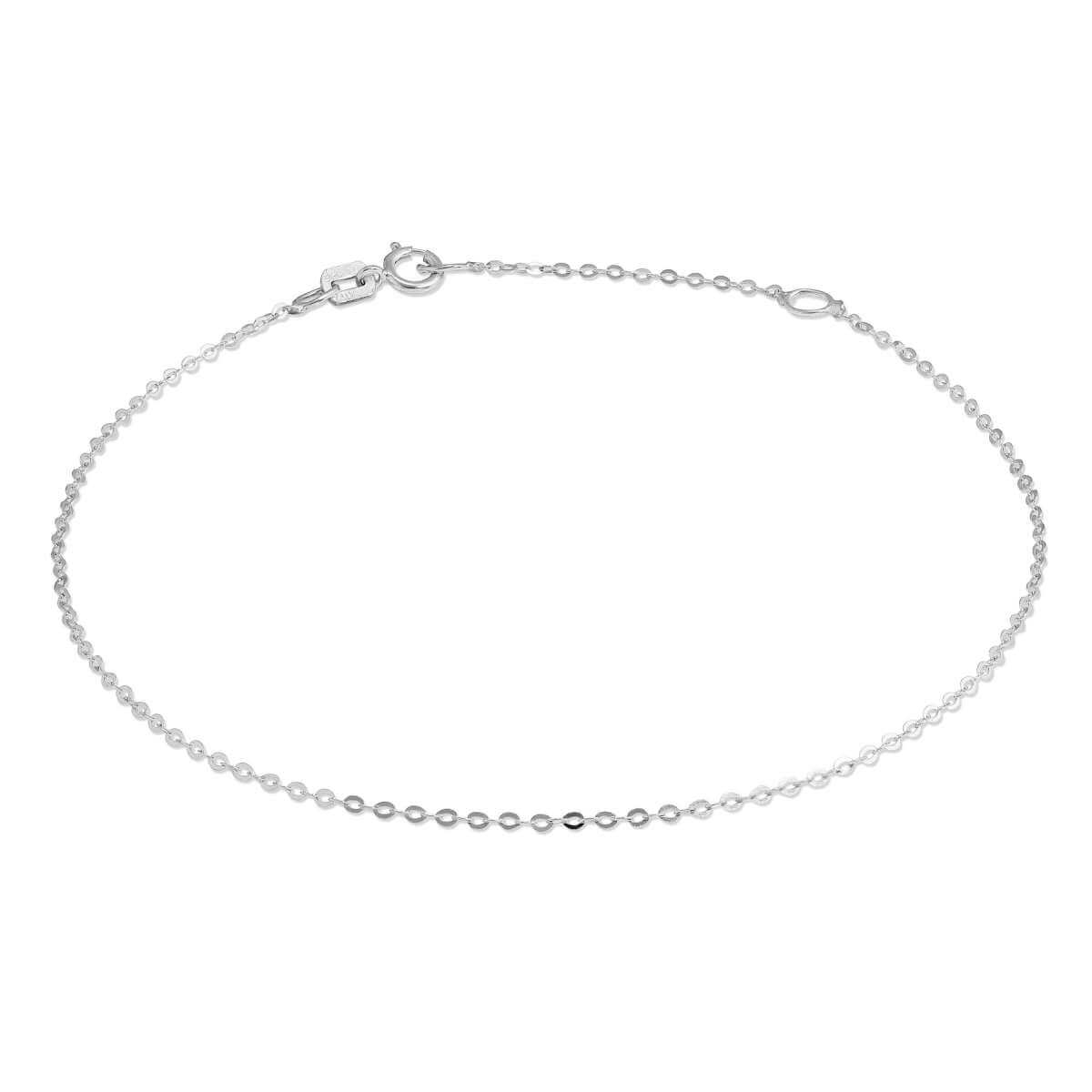 9ct White Gold Hammered Trace Chain Bracelet 7 - 8 Inches