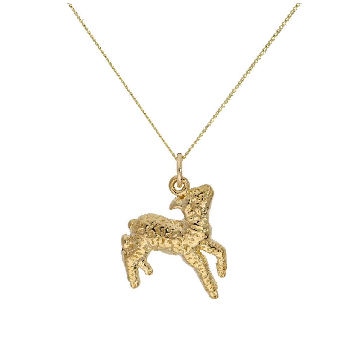 9ct Gold Lamb Pendant on 18 Inches Diamond Cut Chain