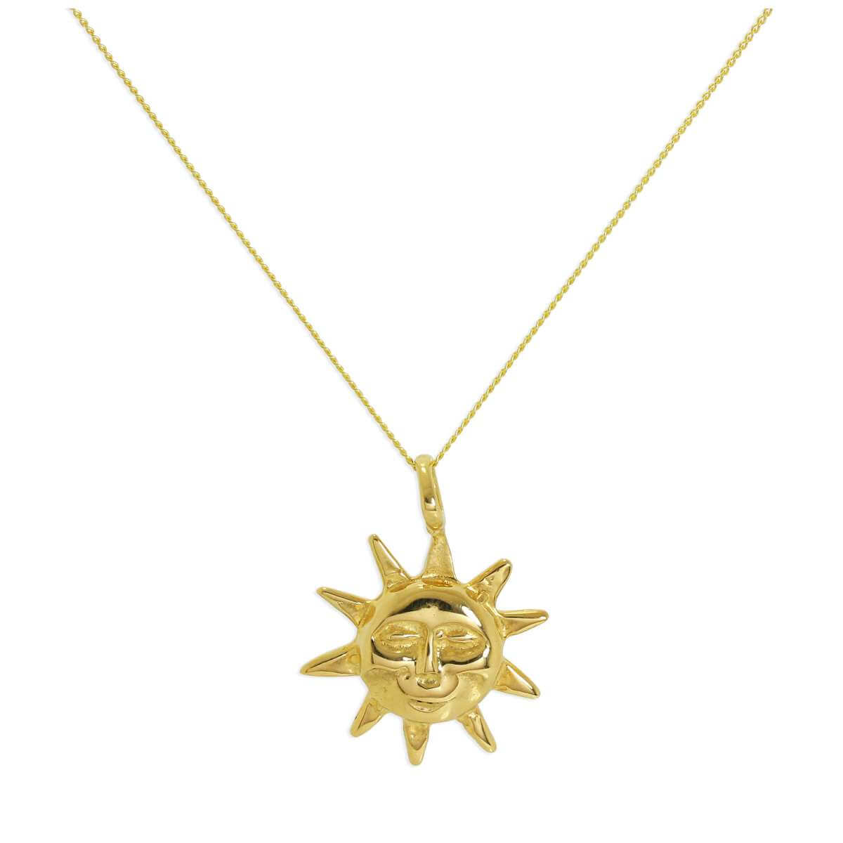 9ct Gold Sun Necklace - 18 Inch Chain