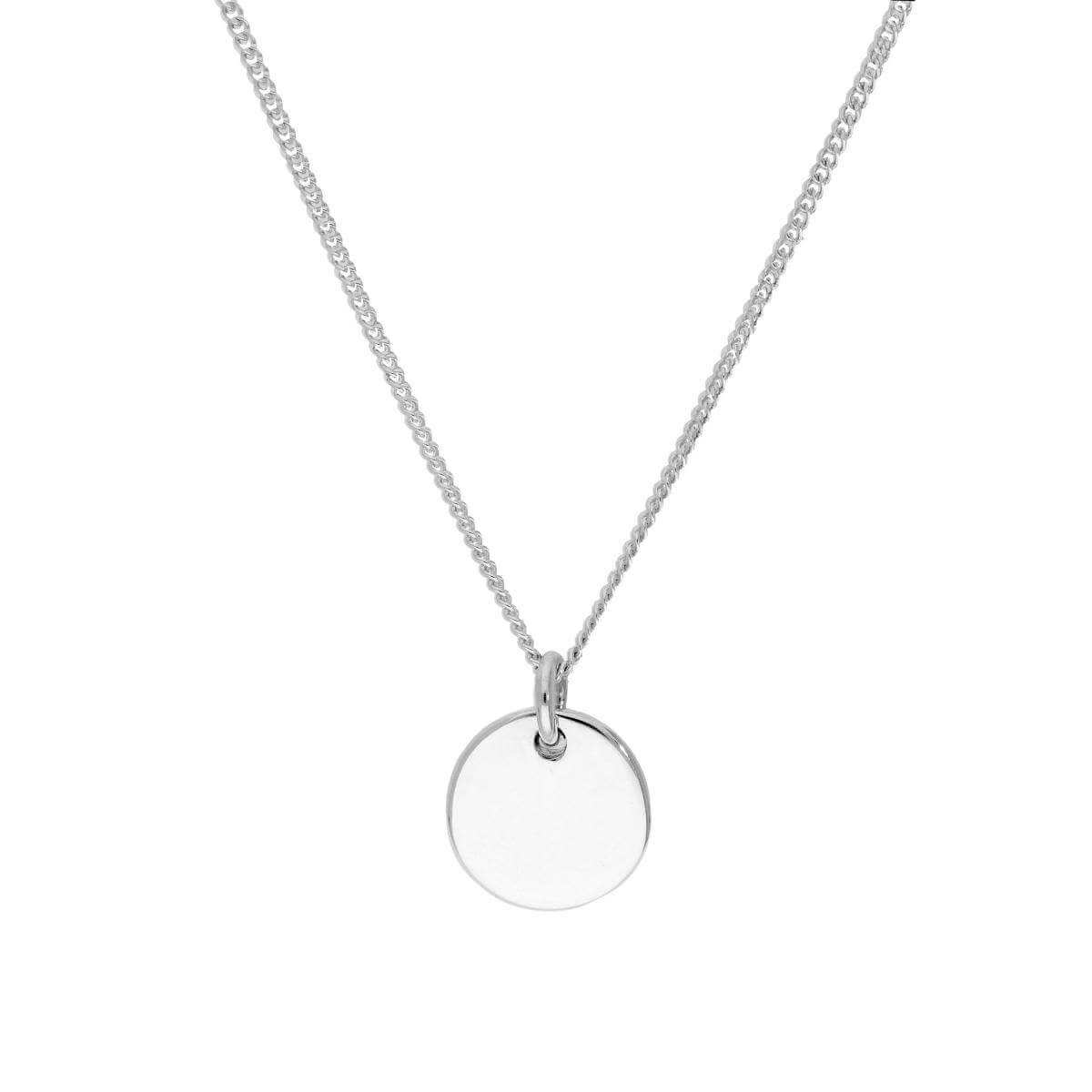 Sterling Silver Thick Engravable Round Pendant Necklace 16 - 24 Inches