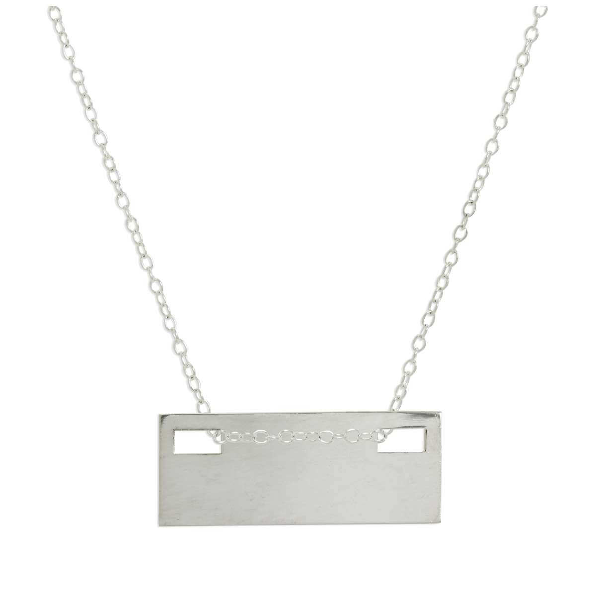 Sterling Silver Engravable Flat Rectangle Pendant Necklace 14 - 22 Inches