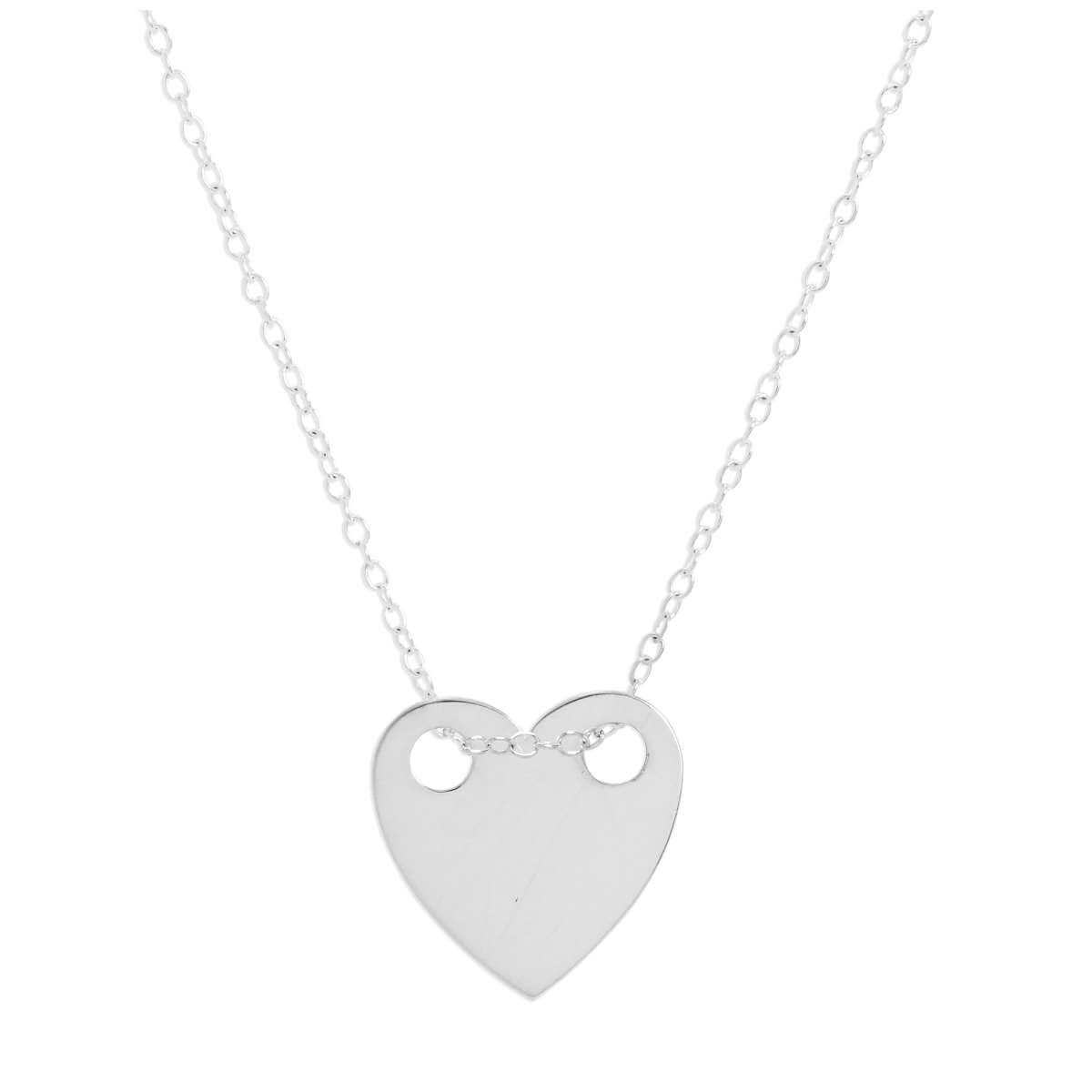 Sterling Silver Engravable Flat Heart Pendant Necklace 14 - 22 Inches
