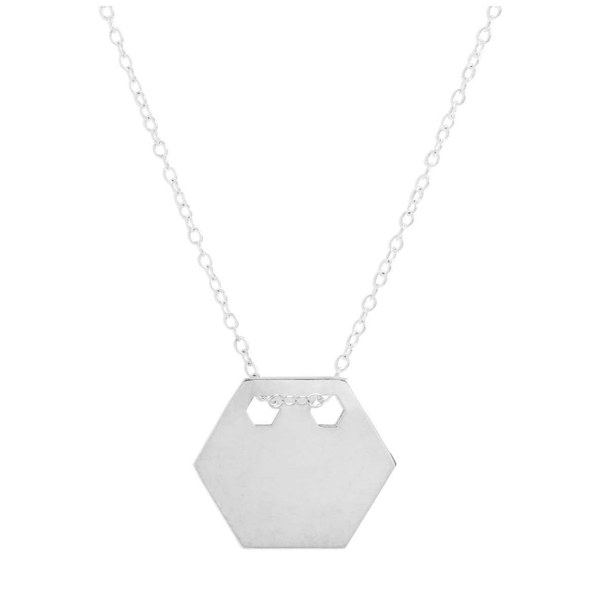 Sterling Silver Engravable Flat Hexagon Pendant Necklace 14 - 22 Inches