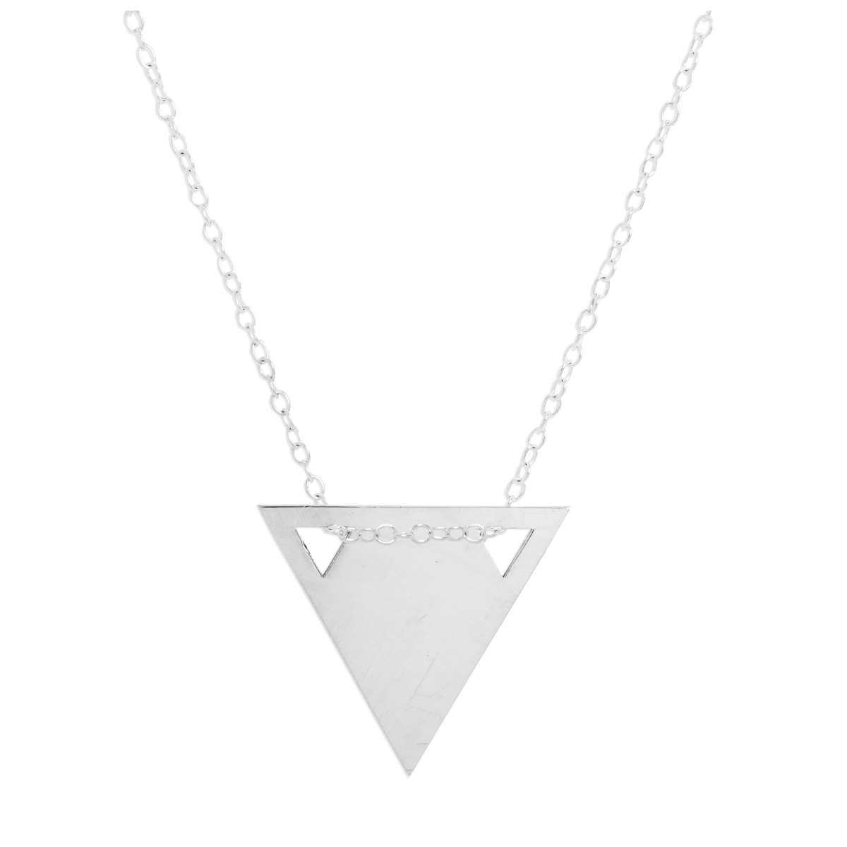 Sterling Silver Engravable Flat Triangle Pendant Necklace 14 - 22 Inches