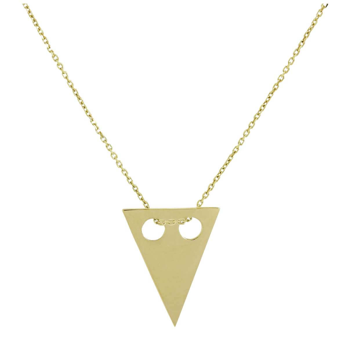 9ct Gold Engravable Flat Triangle Pendant Necklace 16 - 20 Inches
