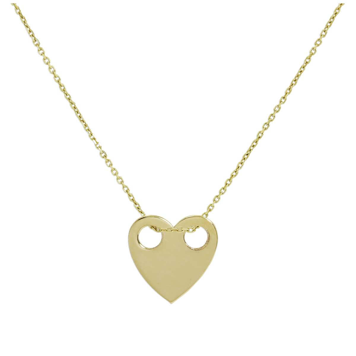 9ct Gold Engravable Flat Heart Pendant Necklace 16 - 20 Inches