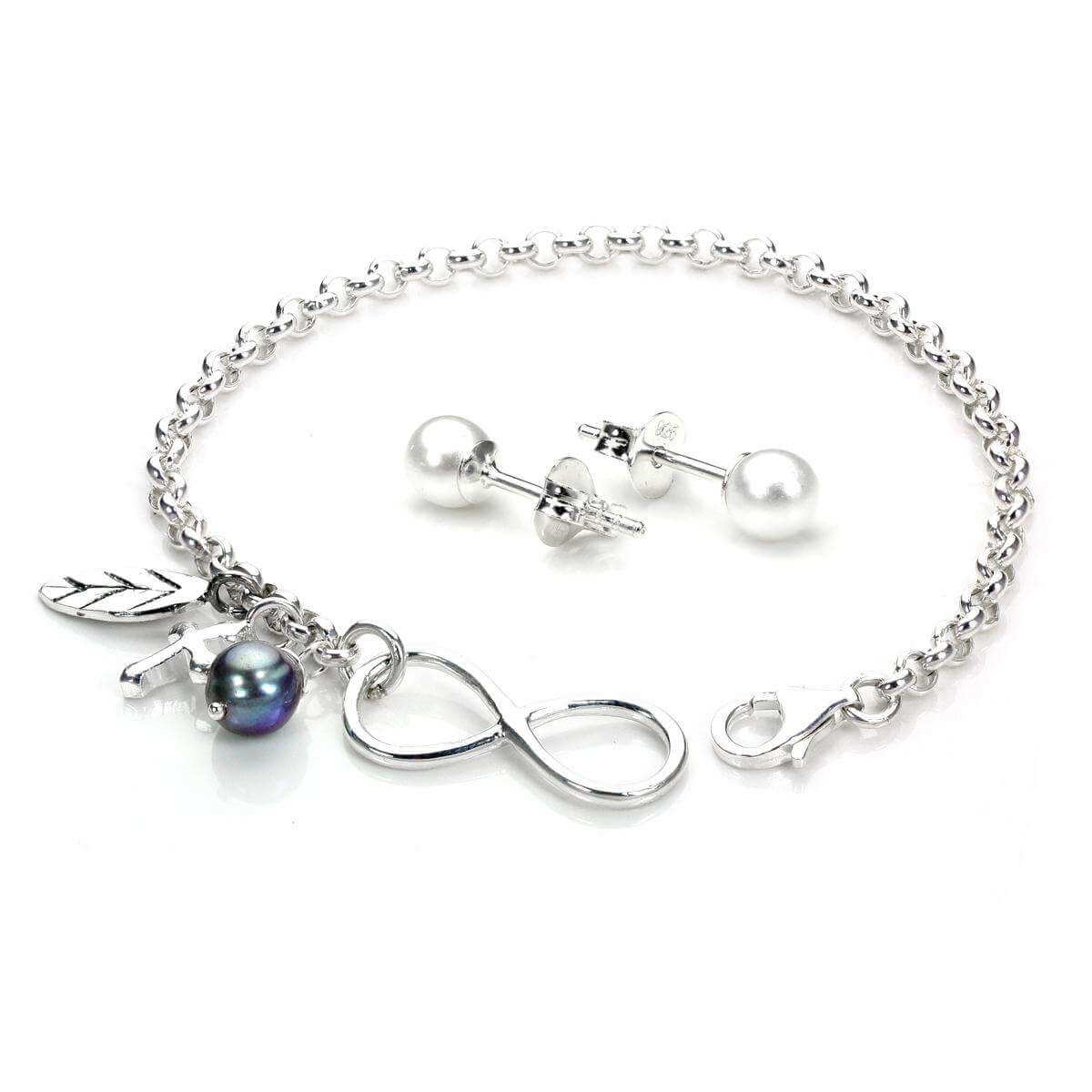 Sterling Silver Infinity Pearl Accessories Set