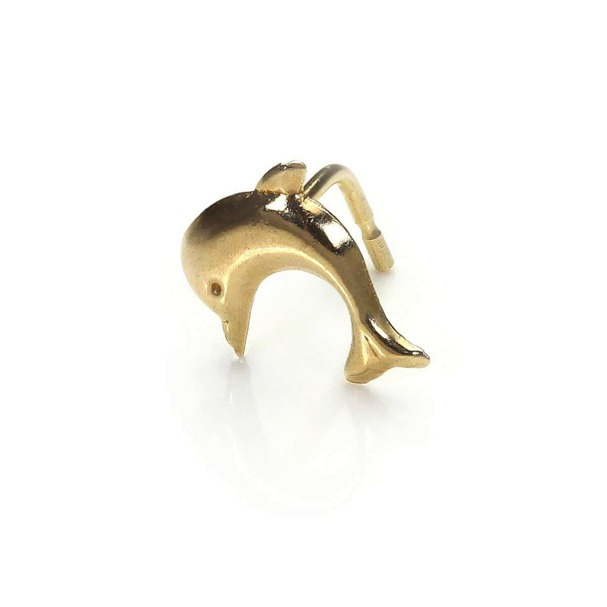 9ct Yellow Gold Dolphin L-Shaped Nose Stud