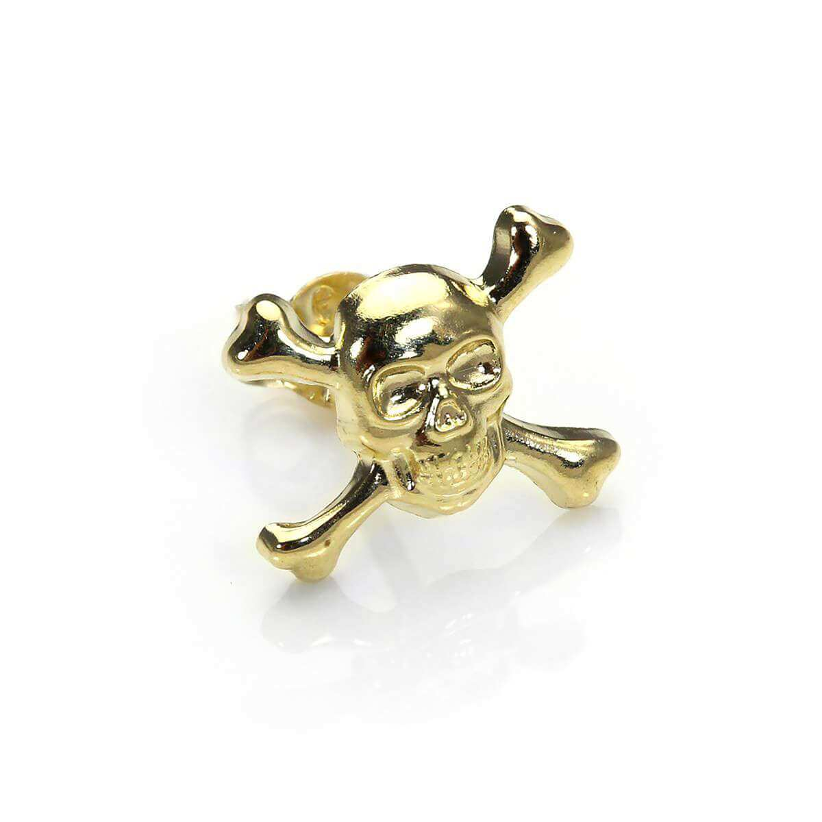 9ct Yellow Gold Skull & Crossbones Mens Stud Single Earring