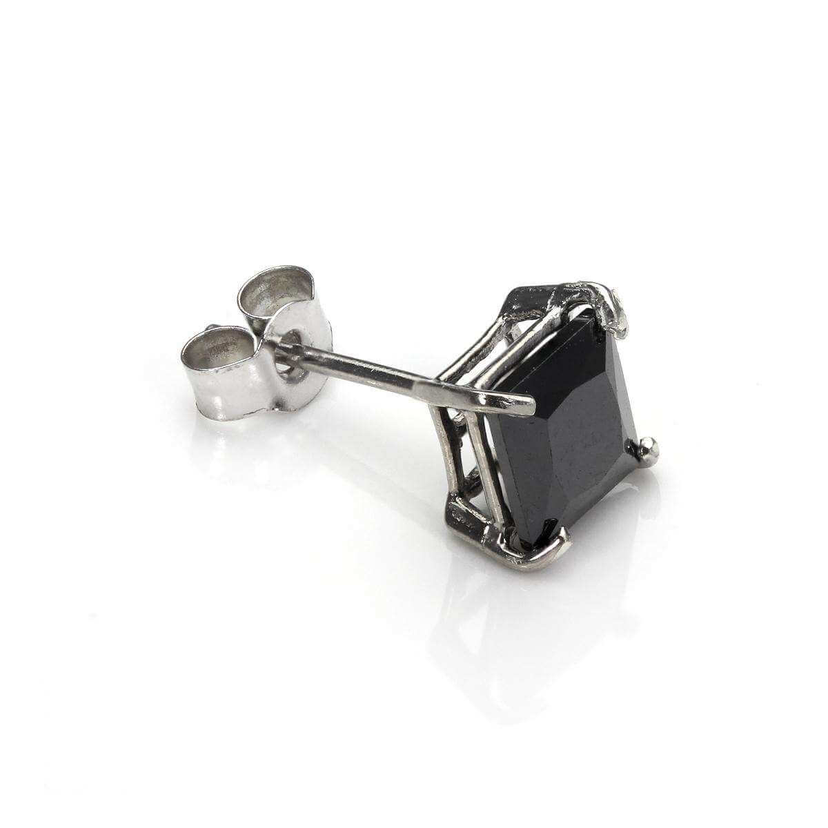 9ct White Gold Black CZ 5mm Square Mens Stud Single Earring