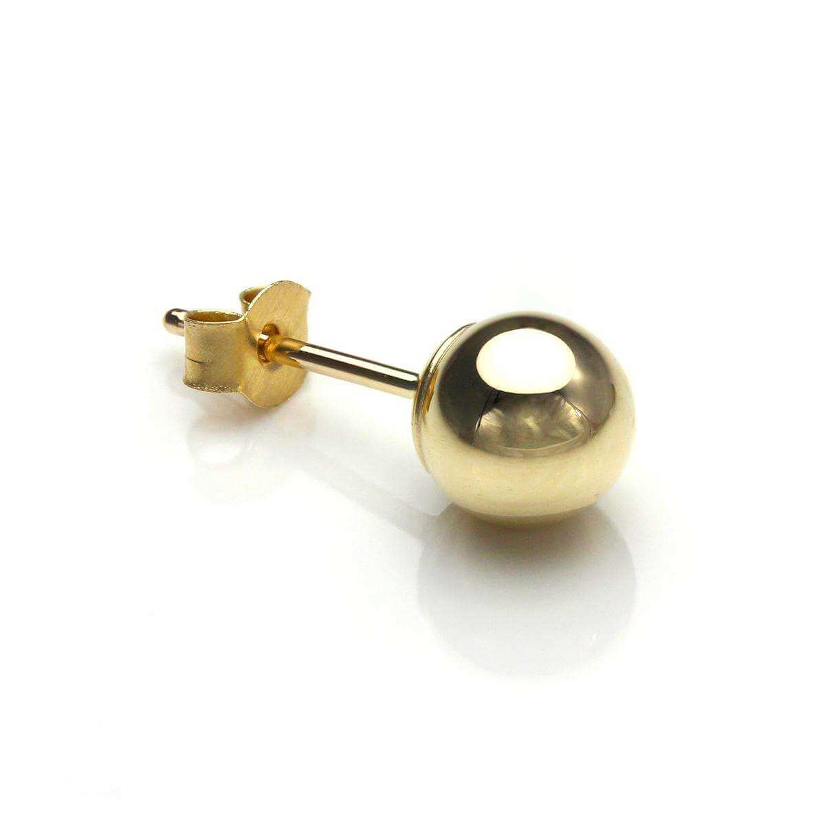 9ct Yellow Gold 5mm Ball Stud Mens Single Earring