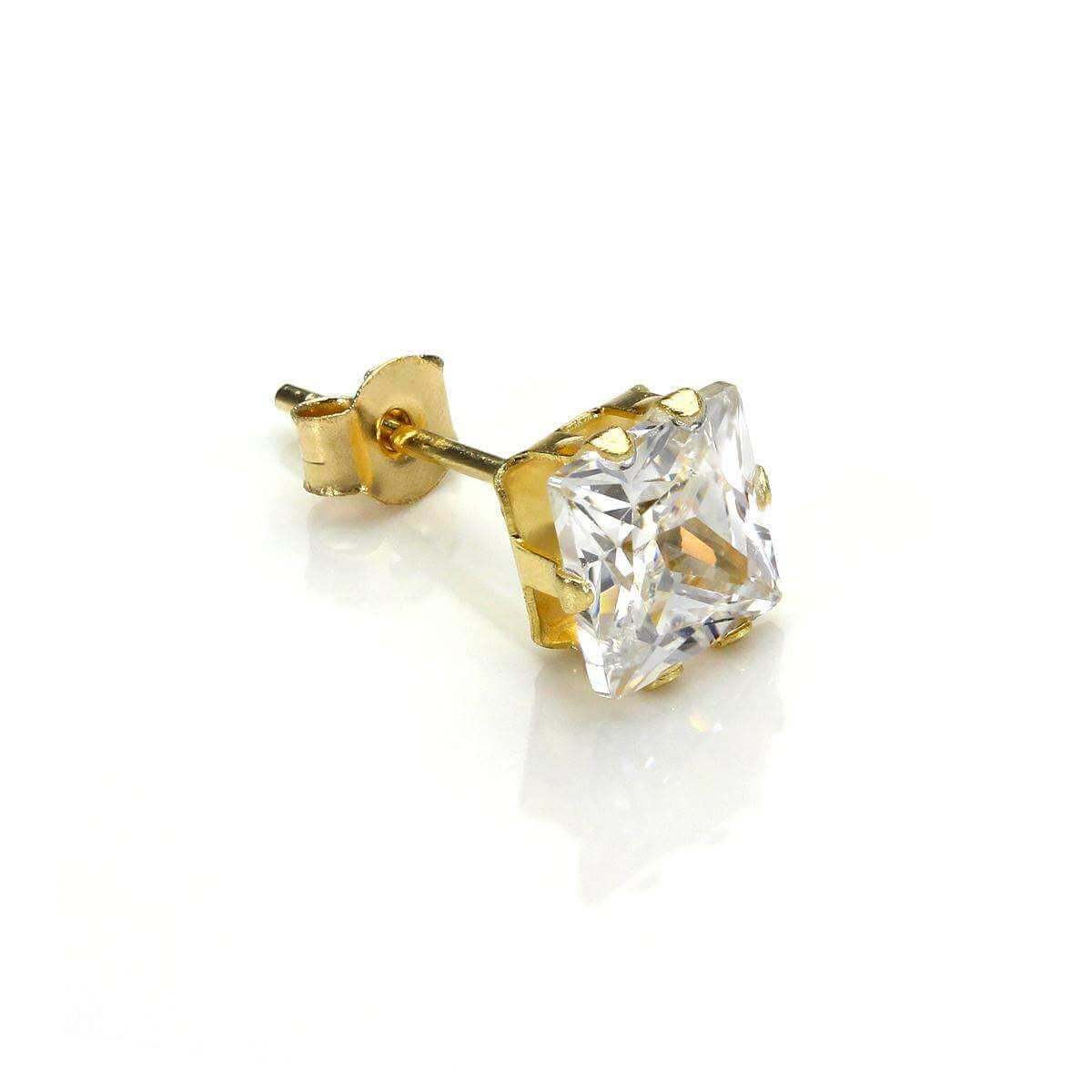9ct Yellow Gold Clear CZ 5mm Square Mens Stud Single Earring