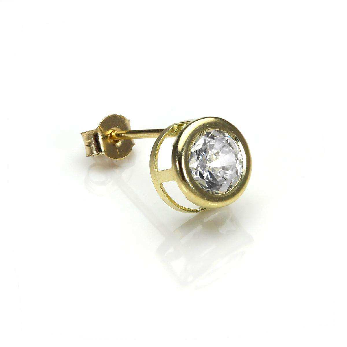 9ct Yellow Gold Clear Crystal 6mm Mens Round Stud Single Earring