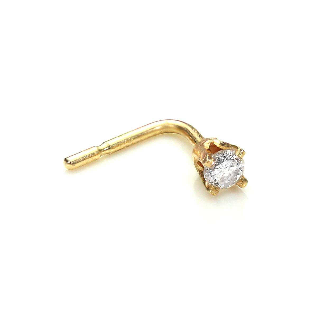 9ct Yellow Gold Diamond L-Shaped Nose Stud