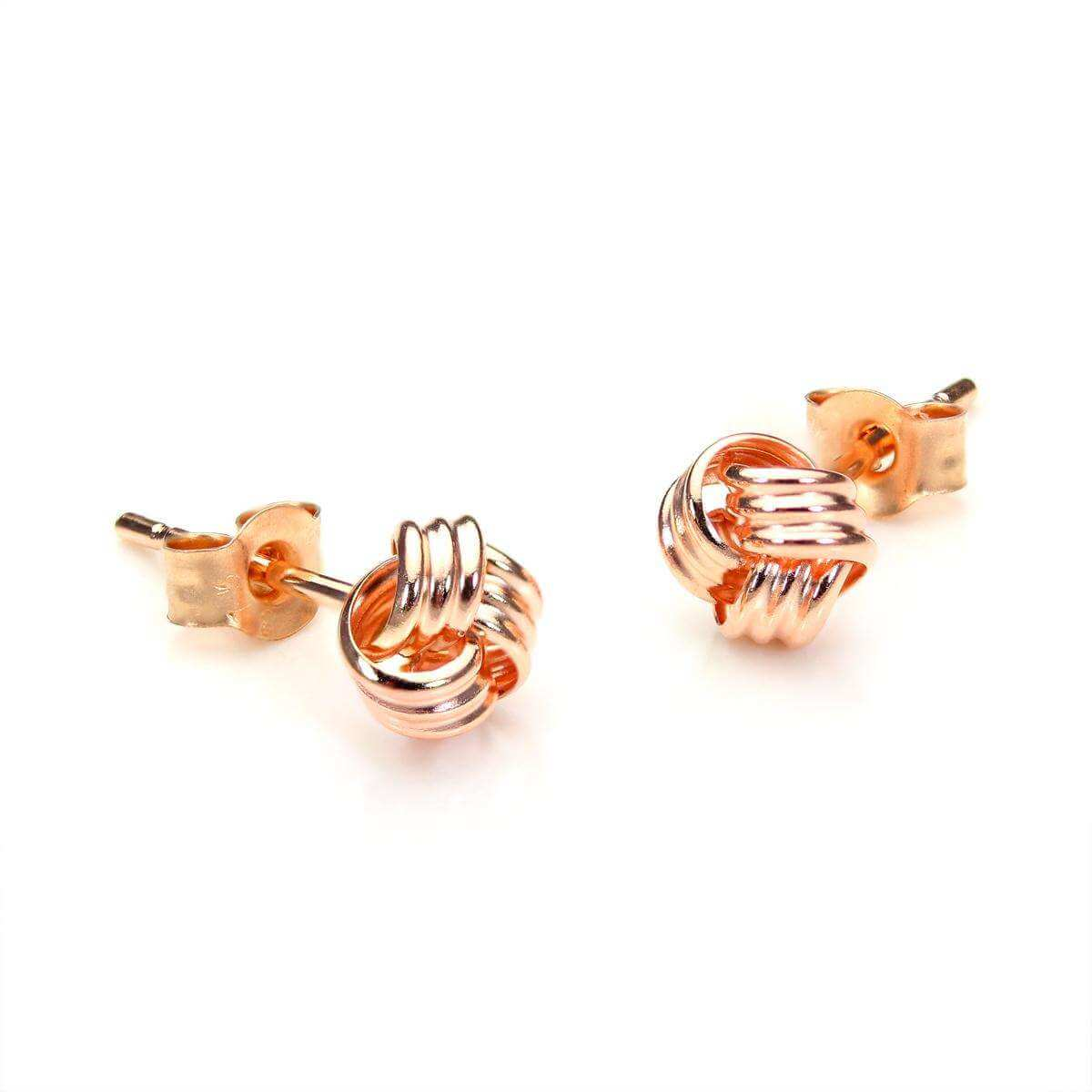 9ct Rose Gold 5mm Knot Stud Earrings