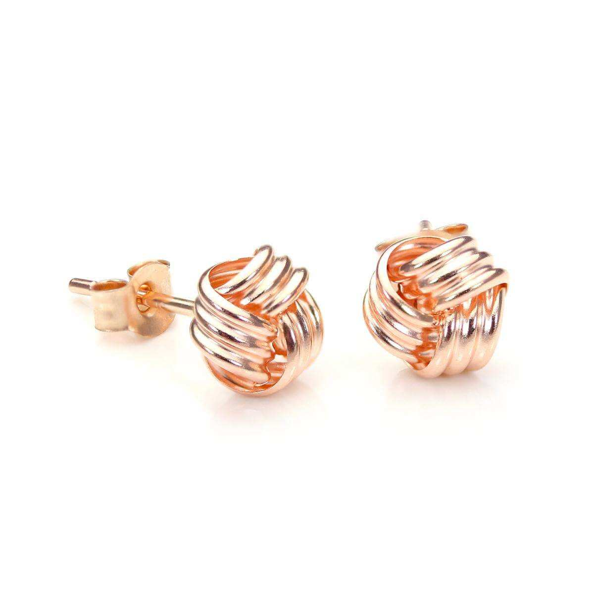 9ct Rose Gold 6mm Knot Stud Earrings
