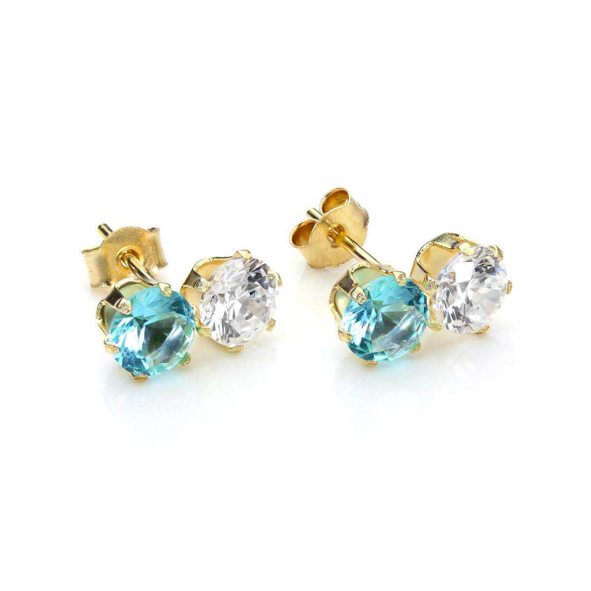 9ct Yellow Gold Aquamarine Crystal Double Stud Earrings
