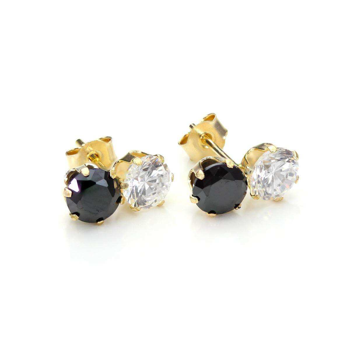9ct Yellow Gold Black Crystal Double Stud Earrings