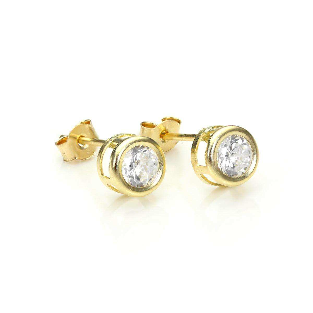 9ct Yellow Gold Round CZ 5mm Stud Earrings