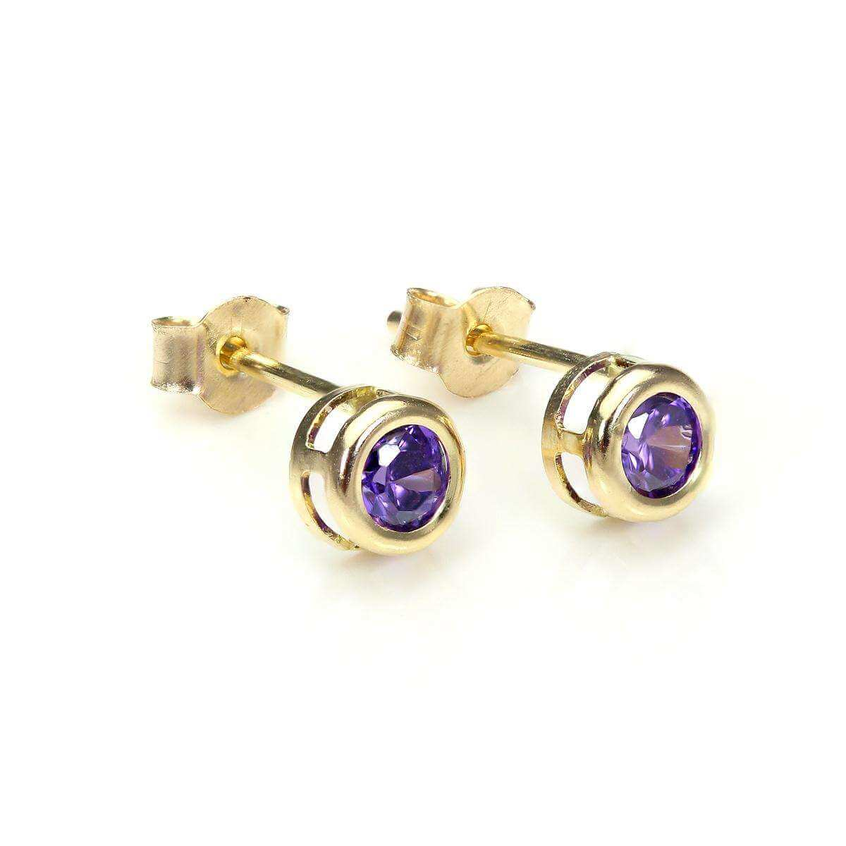 9ct Yellow Gold Amethyst 4mm Stud Earrings