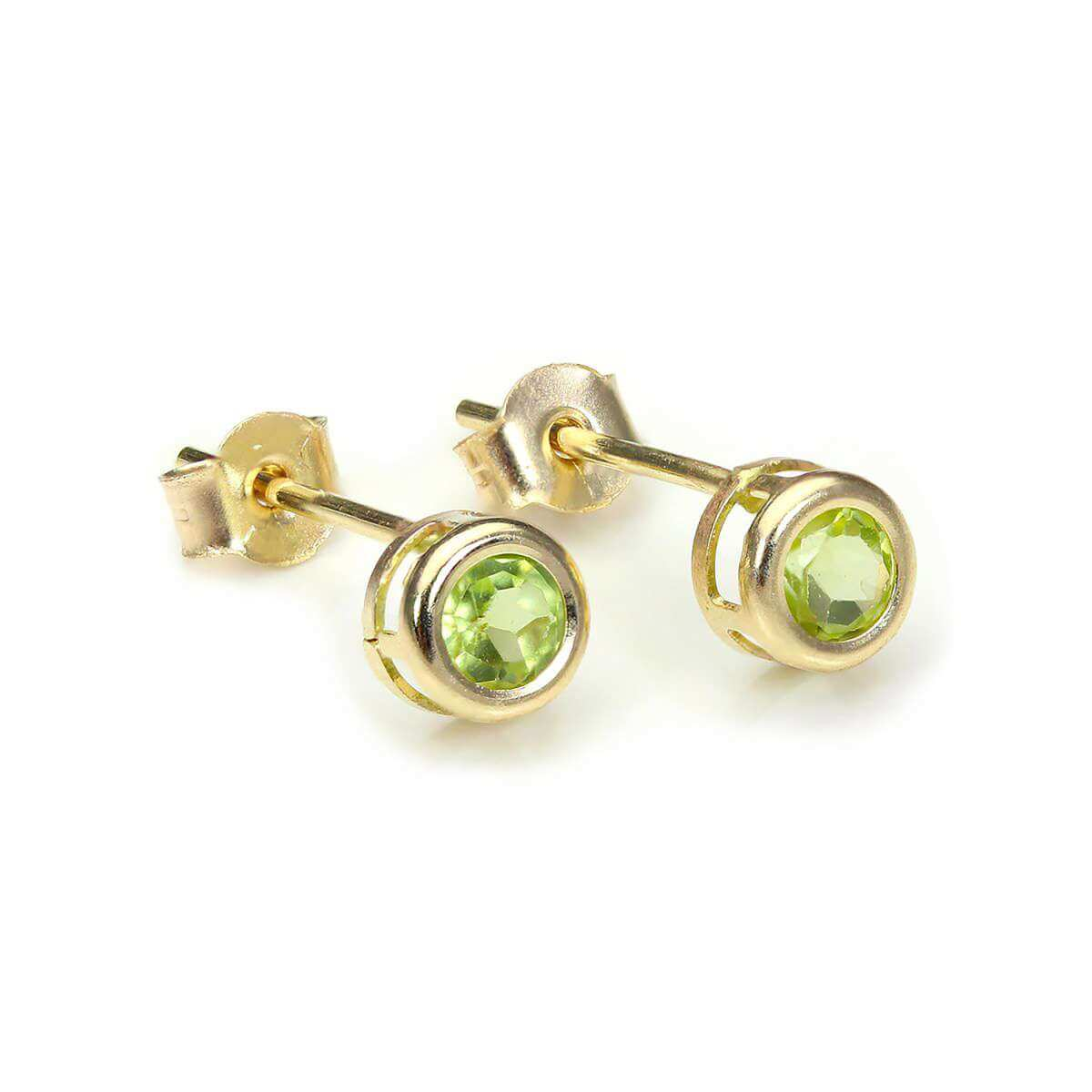 9ct Yellow Gold Peridot 4mm Stud Earrings