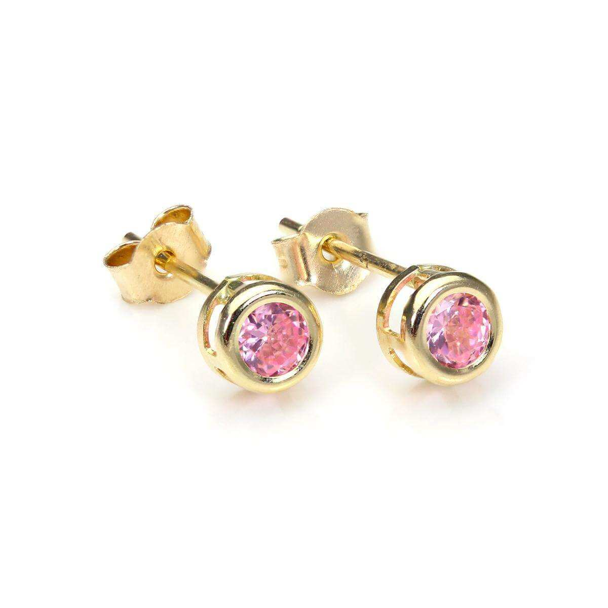 9ct Yellow Gold Pink CZ 4mm Stud Earrings