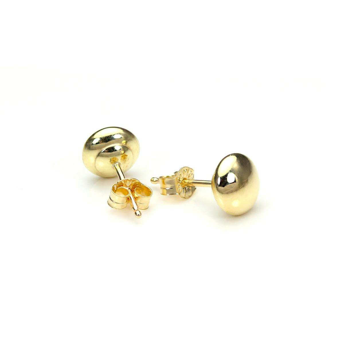 9ct Yellow Gold 5mm Plain Round Button Stud Earrings