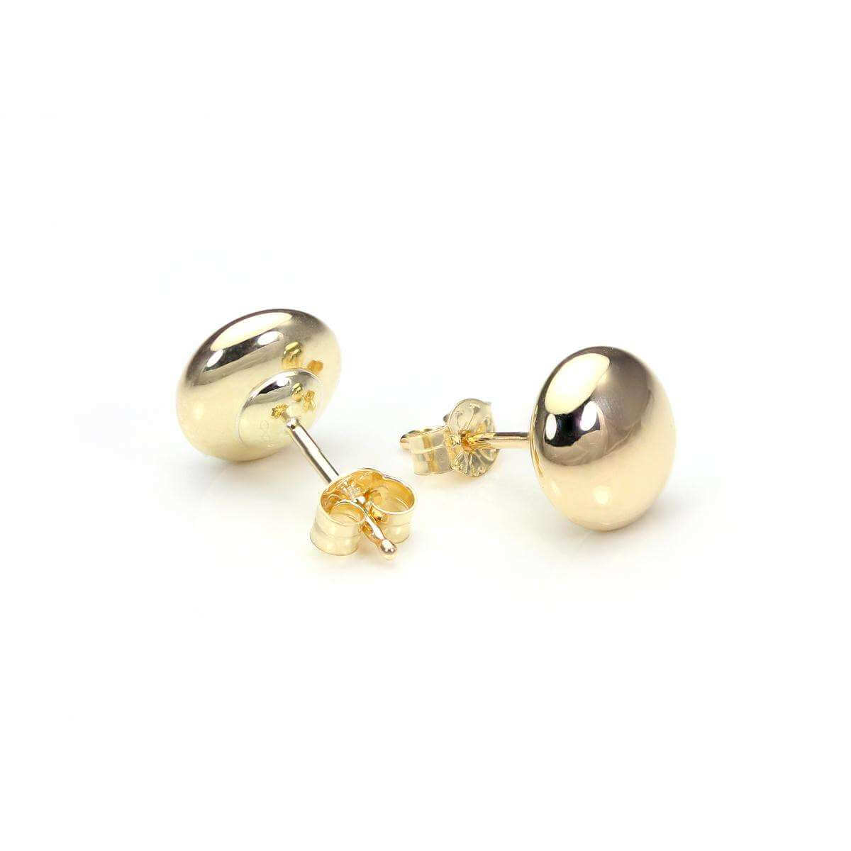 9ct Yellow Gold 6mm Plain Round Button Stud Earrings