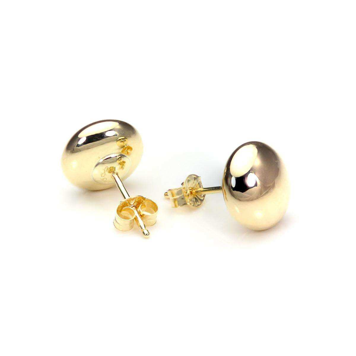 9ct Yellow Gold 7mm Plain Round Button Stud Earrings