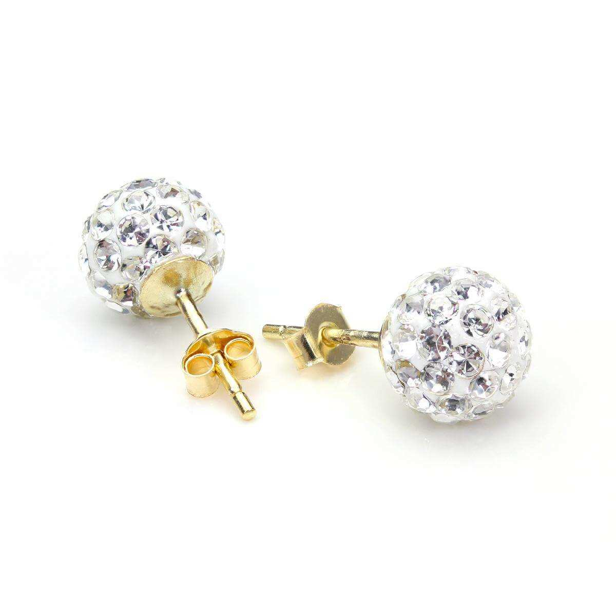 9ct Yellow Gold Clear Crystal 7mm Stud Earrings