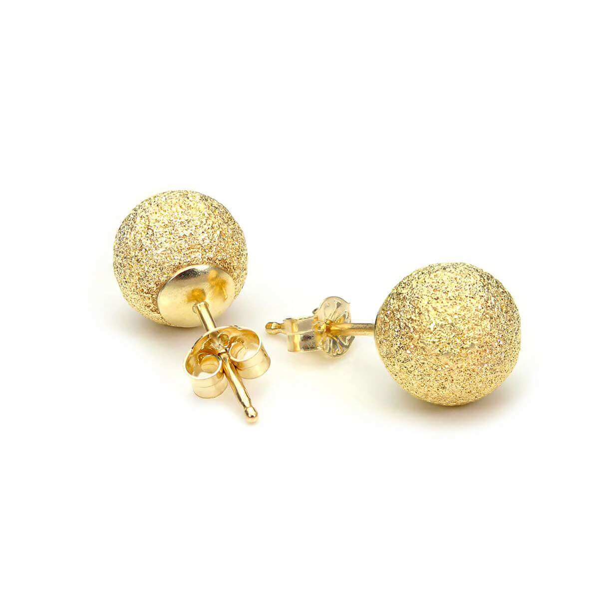 9ct Yellow Gold 7mm Frosted Ball Stud Earrings