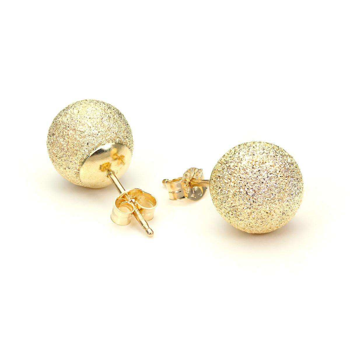 9ct Yellow Gold 8mm Frosted Ball Stud Earrings