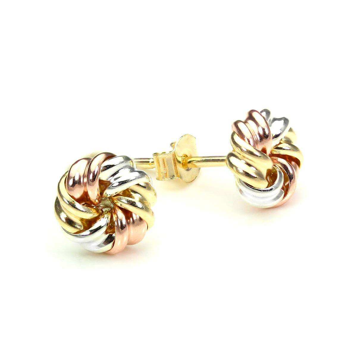 9ct Mixed Gold 6mm Tight Knot Stud Earrings