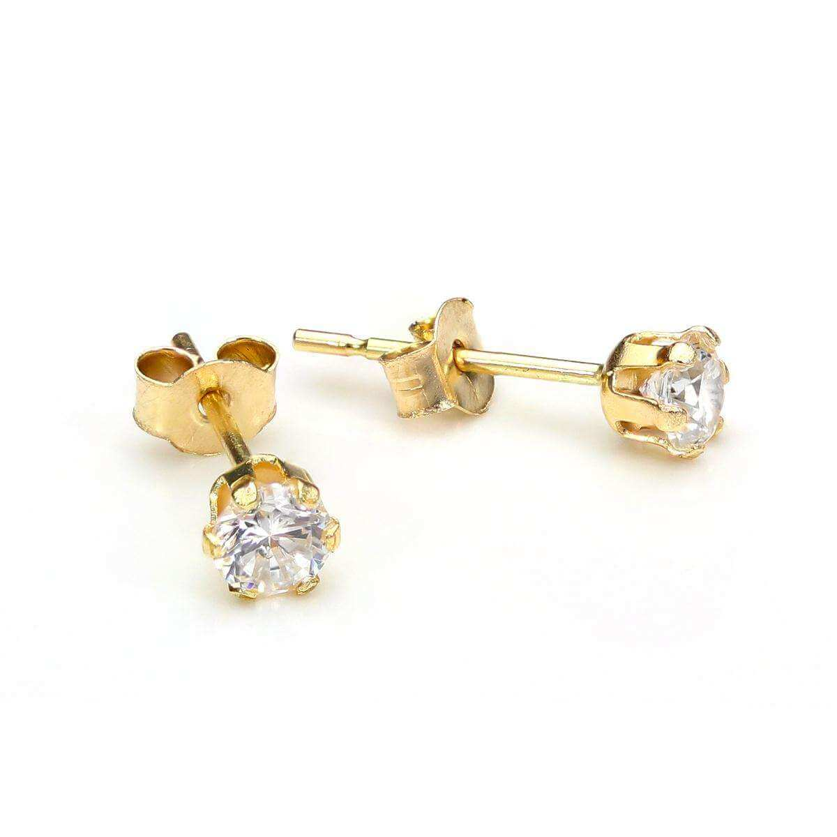 9ct yellow gold 6mm aurora borealis cz stud earrings. Gift box
