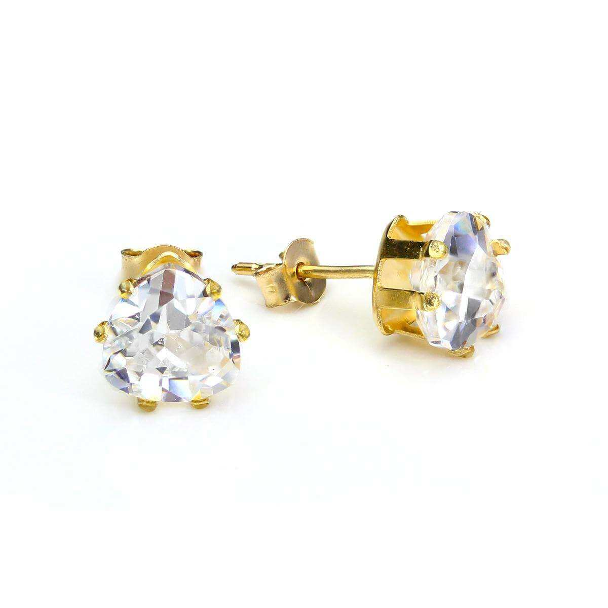 9ct Yellow Gold Crystal 6mm Heart Stud Earrings
