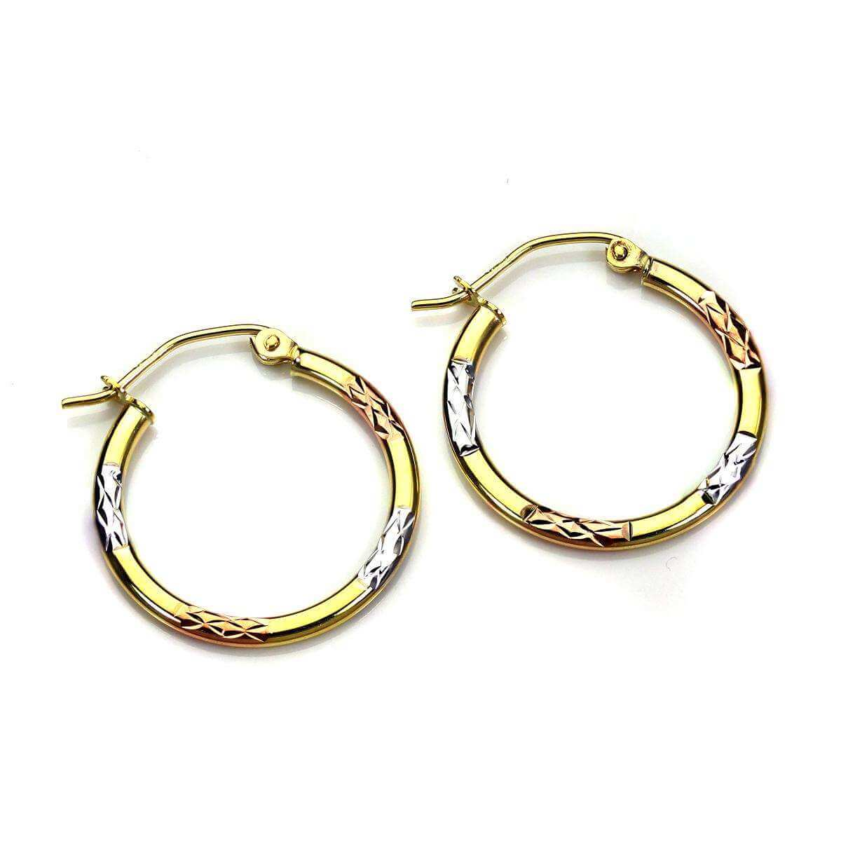 9ct Yellow Gold 20mm Multi Coloured Hinged Hoop Earrings