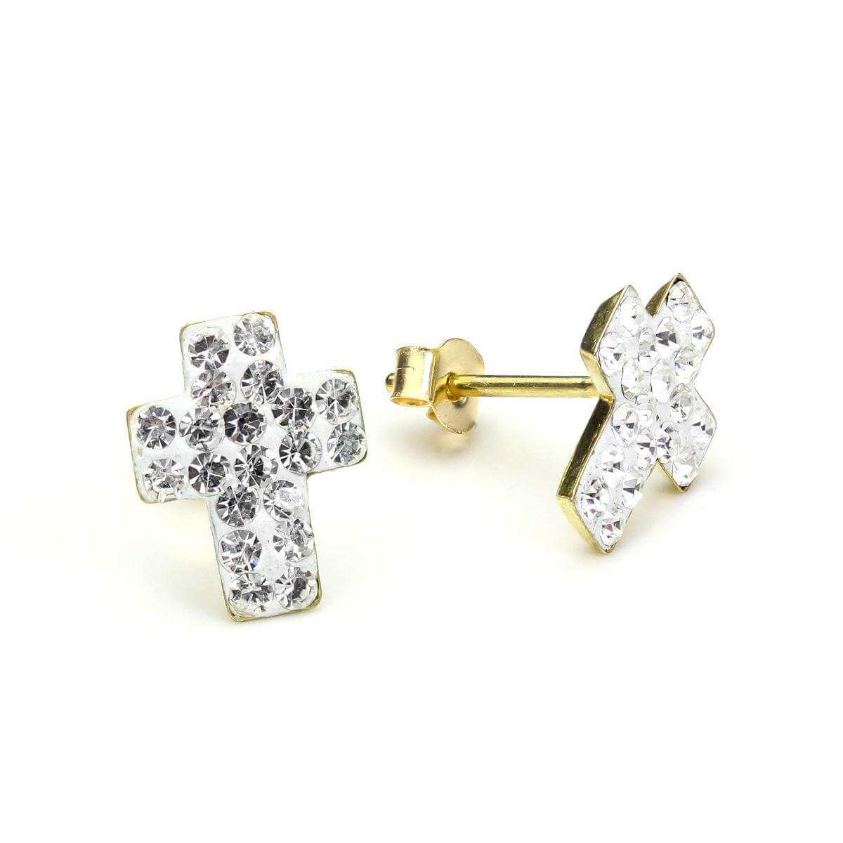 9ct Yellow Gold Clear Crystal Cross Stud Earrings