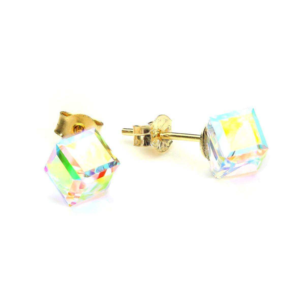9ct Yellow Gold Aurora Borealis Cube Stud Earrings