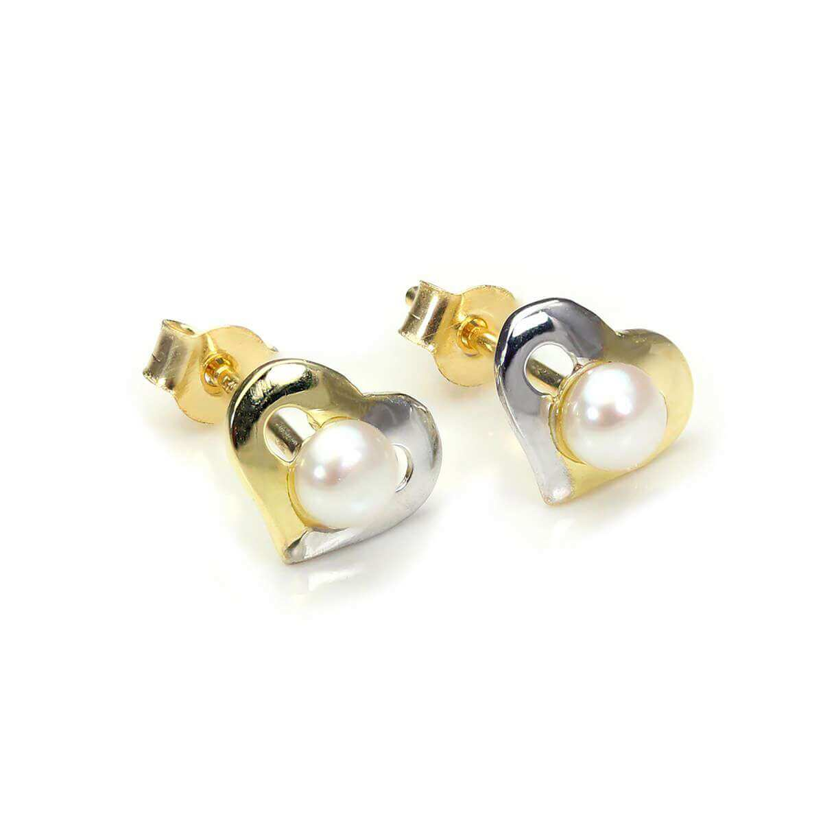 9ct Mixed Gold Pearl Open Heart Stud Earrings