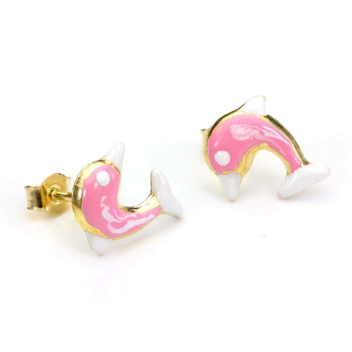 9ct Yellow Gold Pink Enamel Dolphin Stud Earrings