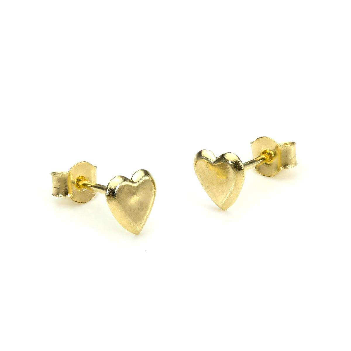 9ct Yellow Gold Small Flat Heart Stud Earrings