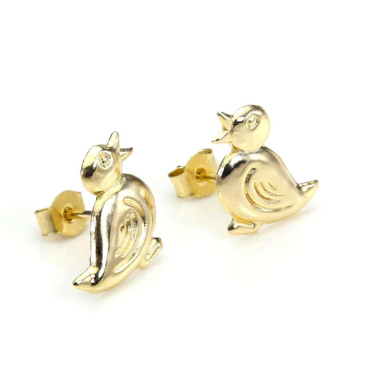 9ct Yellow Gold Cute Duck Stud Earrings