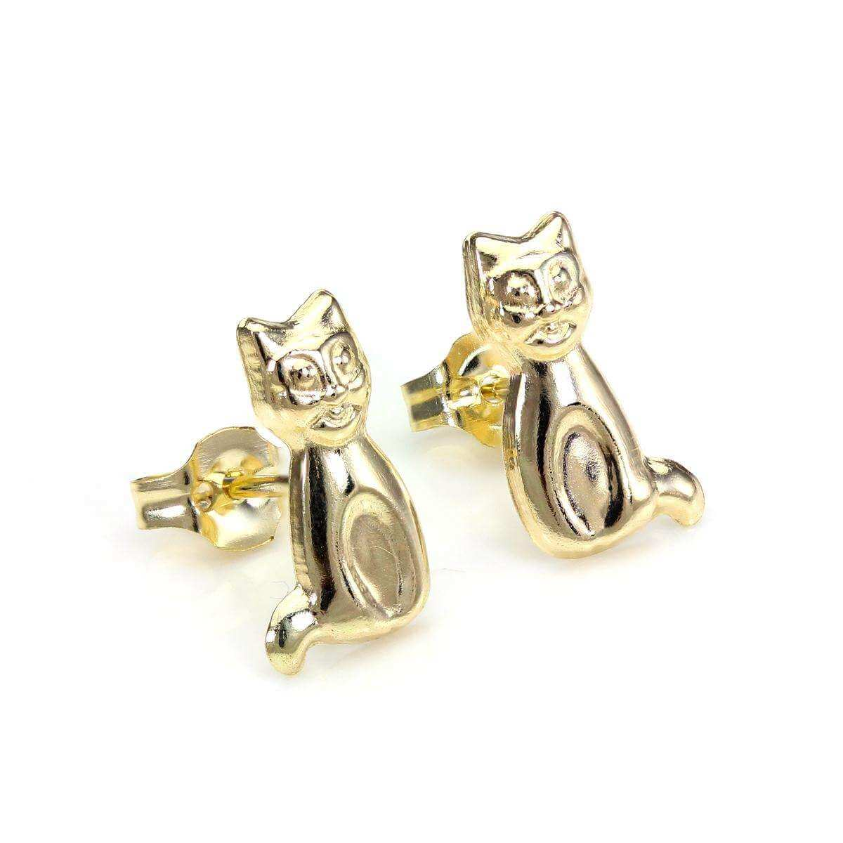 9ct Yellow Gold Sitting Cat Stud Earrings
