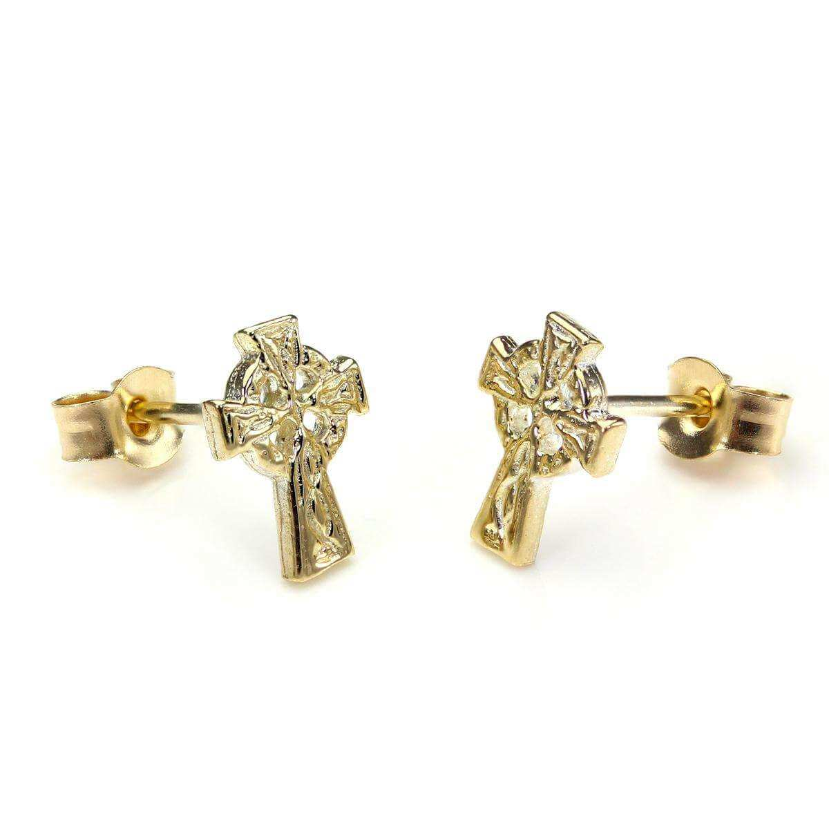 9ct Yellow Gold Celtic Cross Stud Earrings